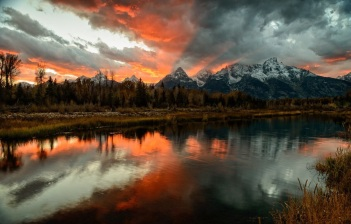 sunset in grand tetons